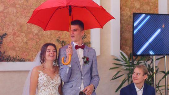 Молодожены с зонтом на свадьбе в Магдалиновке с Дядя Жора Company
